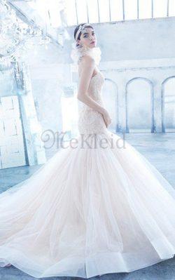 Rückenfreies A-Line Perlenbesetztes Brautkleid mit Herz-Ausschnitt mit Tiefer Taille – MeK ...