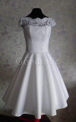 Robe de mariée avec décoration dentelle longueur mollet a-ligne en satin de col bateau – G ...