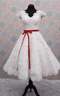 Robe de mariée avec manche courte a plage avec ruban avec décoration dentelle avec zip – G ...