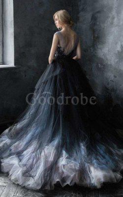 Robe de mariée avec manche courte ceinture de traîne moyenne textile en tulle a-ligne – Go ...