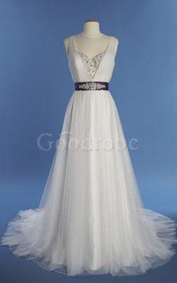 Robe de mariée distinguée facile longue plissé ligne a – GoodRobe