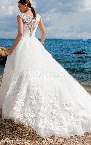 Robe de mariée en plage fermeutre eclair au niveau de cou avec bouton de traîne courte – G ...