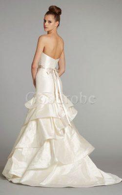 Robe de mariée pendant de traîne moyenne ligne a ceinture avec perle – GoodRobe