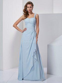 Robe de soirée naturel avec perle de princesse ligne a grandes bretelles – GoodRobe