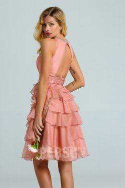 Robe cortège mariage rose saumon courte dos ouvert ornée de strass jupe fantaisie