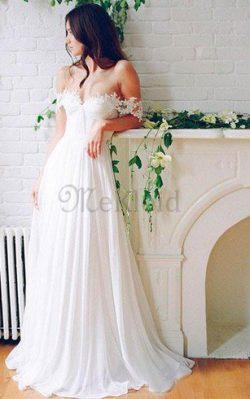 Romantisches Elegantes Informelles Brautkleid mit Applike mit Gekappten Ärmeln – MeKleid.de