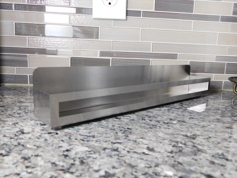 Stainless steel organizer metal countertop shelf contemporary