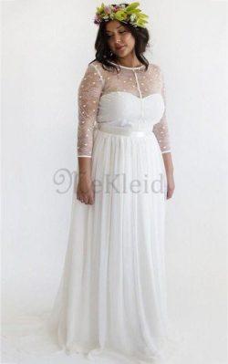 Strand Spitze Lange Ärmeln Brautkleid aus Chiffon mit Juwel Ausschnitt – MeKleid.de