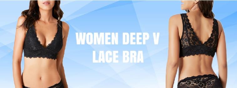Women Deep V Bralette Plunge Lace Bra – Junlan Center