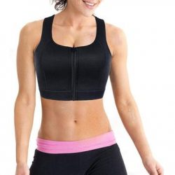 High compression bra full cup with front-zipper wire-free