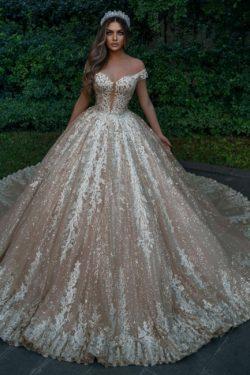 Designer Hochzeitskleider Prinzessin Glitzer | Brautkleider mit Spitze