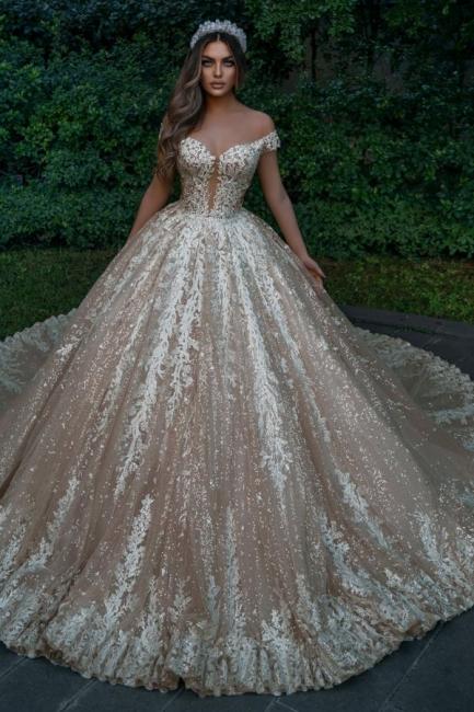 Designer Hochzeitskleider Prinzessin Glitzer   Brautkleider mit Spitze