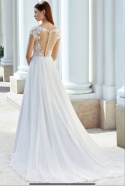Adore Justin Alexander 11123 A-Line Chiffon and Lace Gown –