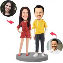 Fashion Couple In Casual Wear Custom Bobblehead With