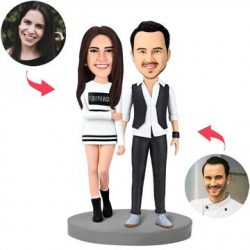 Modern Couple Custom Bobblehead With Engraved