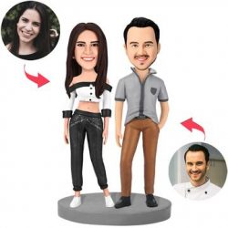 Modern Sexy Couple Custom Bobblehead With Engraved