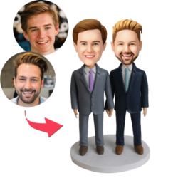 Same-sex Male Couple Custom Bobblehead With Engraved
