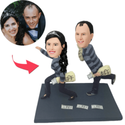 Funny Robbers Couple Custom Bobblehead With Engraved
