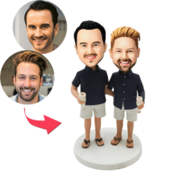 Casual Same-sex Male Couple Custom Bobblehead With