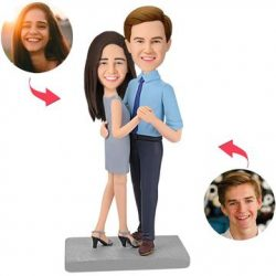 Happy Dancing Couple Custom Bobblehead With Engraved