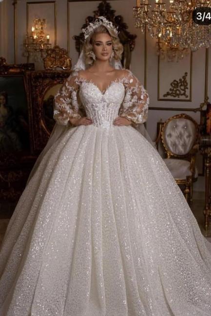 Luxus Hochzeitskleider mit Ärmel | Brautkleider Prinzessin Glitzer