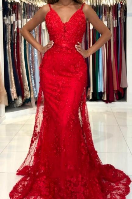 Wunderschöne Abendkleider Lang Rot | Spitze Abiballkleider Günstig