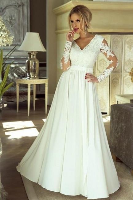 Schlichtes Brautkleider Mit Ärmel   Hochzeitskleider mit Spitze