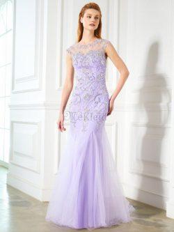 Normale Taille Tüll Schaufel-Ausschnitt Meerjungfrau Stil Perlenbesetztes Ballkleid – MeKl ...