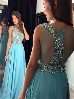 Prinzessin Chiffon Perlenbesetztes Ärmelloses Natürliche Taile Abendkleid – MeKleid.de
