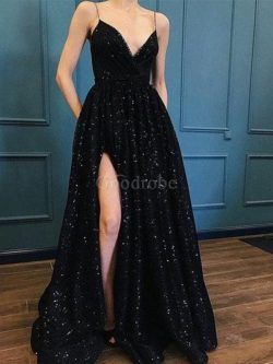 Robe de bal de col en v de traîne courte de princesse séduisant naturel – GoodRobe