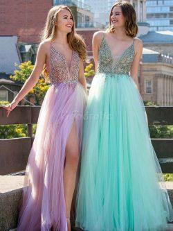 Robe de bal de princesse textile en tulle ligne a mode v encolure – GoodRobe