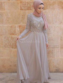 Robe de soirée avec cristal enchanteur encolure ronde a-ligne textile en tulle – GoodRobe