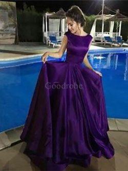 Robe de soirée avec sans manches plus récent en satin de lotus ligne a – GoodRobe