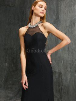 Robe de soirée naturel avec zip avec perle de fourreau manche nulle – GoodRobe