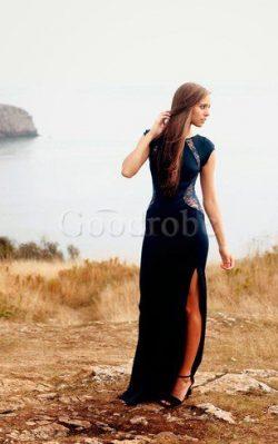 Robe de soirée sexy delicat avec décoration dentelle avec manche courte de fourreau – GoodRobe