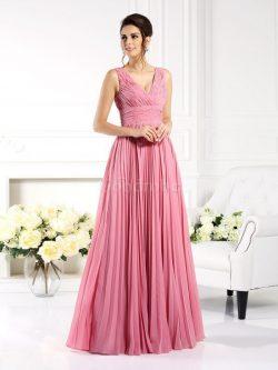 Robe mère de mariée plissage avec zip de princesse en chiffon jusqu'au sol – GoodRobe