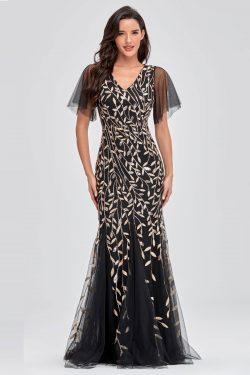 Robe de soirée fourreau longue noir col v à sequins de feuilles avec manches évasées