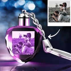 Custom Photo Crystal Keychain Heart Shape | Gifts For Dad