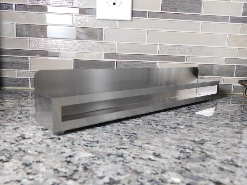 Stainless steel organizer metal countertop shelf contemporary