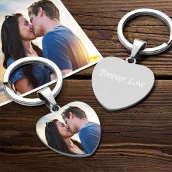 Custom Color Printing Photo Keychain Heart Shape