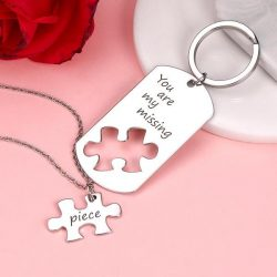 Custom Engraved Couple Keychain And Necklace Set – Puzzle Dog Tag