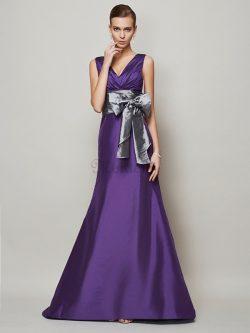 V-Ausschnitt Empire Taille A-Linie Abendkleid mit Gürtel mit Schleife – MeKleid.de
