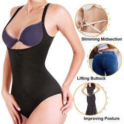 ELEADY Women Latex Waist Trainer Bodysuit Slim Zipper