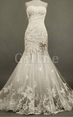 Abito da Sposa Elegante con Applique in Pizzo con Perline in Tulle – Gillne.it