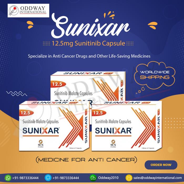 Buy Sunixar 12.5mg Online (Sunitinib Capsules)