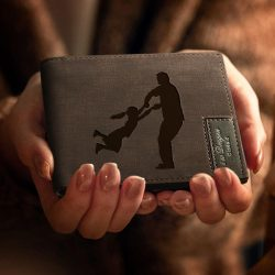 Personalized Silhouettes Engraved Wallet – Special Bifold Wallet For Dad