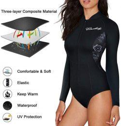 ELEADY Women Neoprene Wetsuit Long Sleeves Swimsuit with Front Zipper