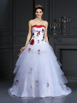 Duchesse-Linie Ärmelloses Sittsames Brautkleid mit Gericht Schleppe mit Blume – MeKleid.de