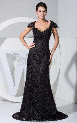 Etui Queen Neckline Abendkleid mit Sweep Zug mit Applikation – MeKleid.de