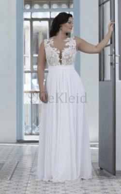 Klassisches Herz-Ausschnitt Juwel Ausschnitt Ärmellos Brautkleid mit Bordüre – MeKleid.de